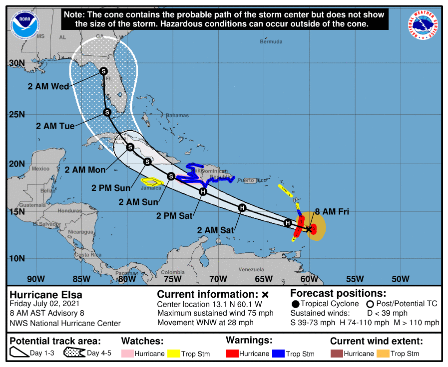 Elsa strengthens to hurricane, Florida still in the forecast cone